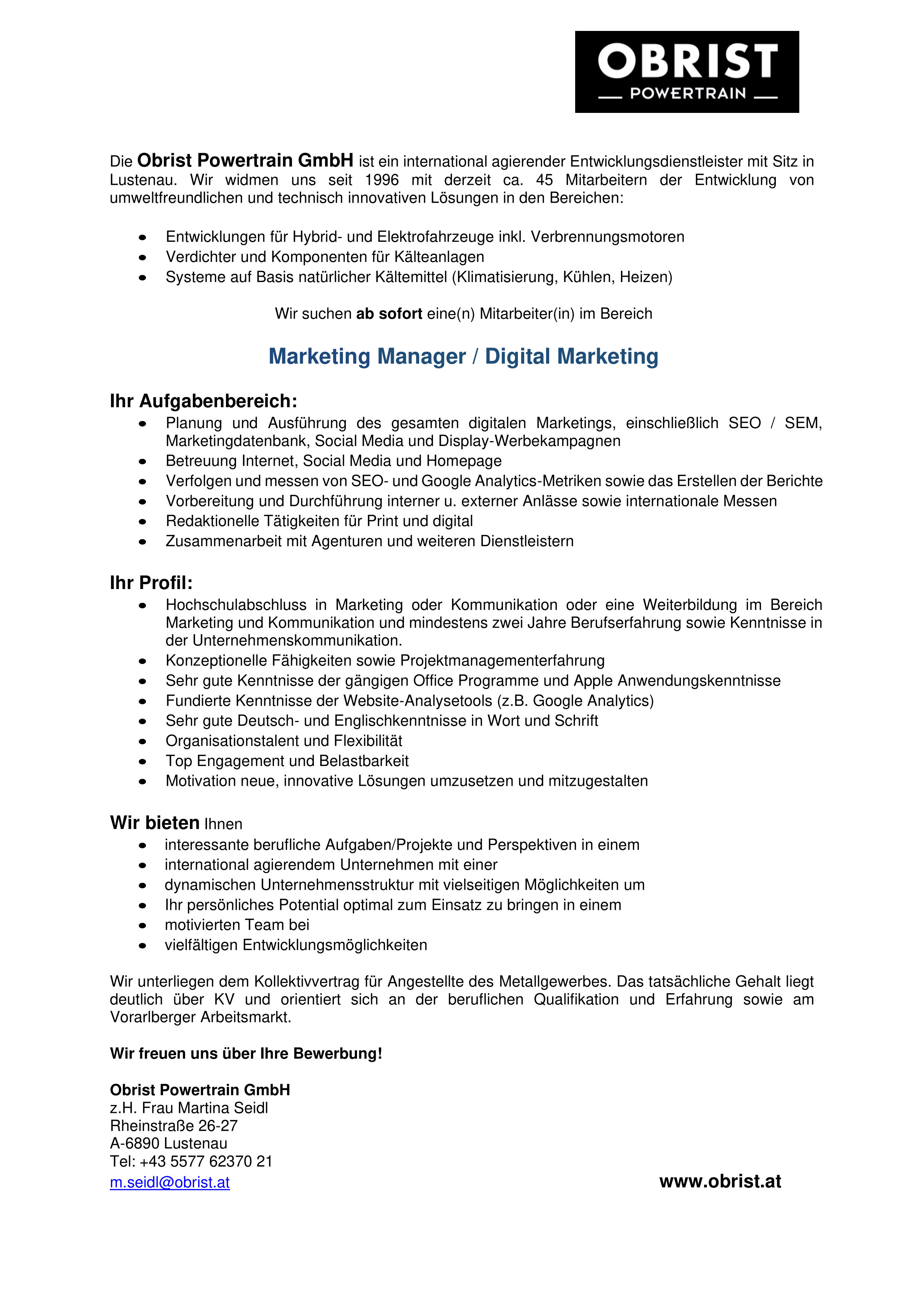 Marketing Manager / Digital Marketing