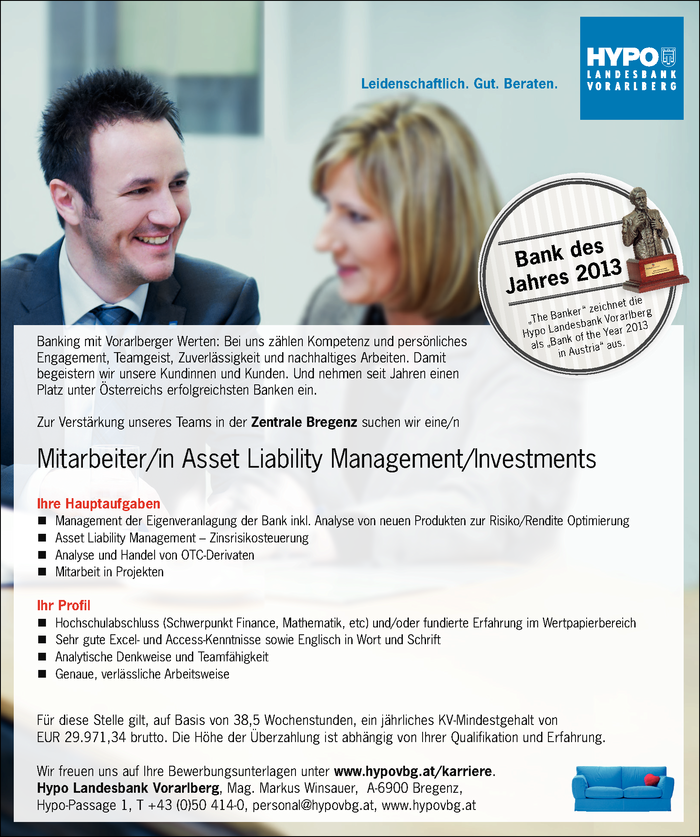 Mitarbeiter/in Asset Liability Management/Investments