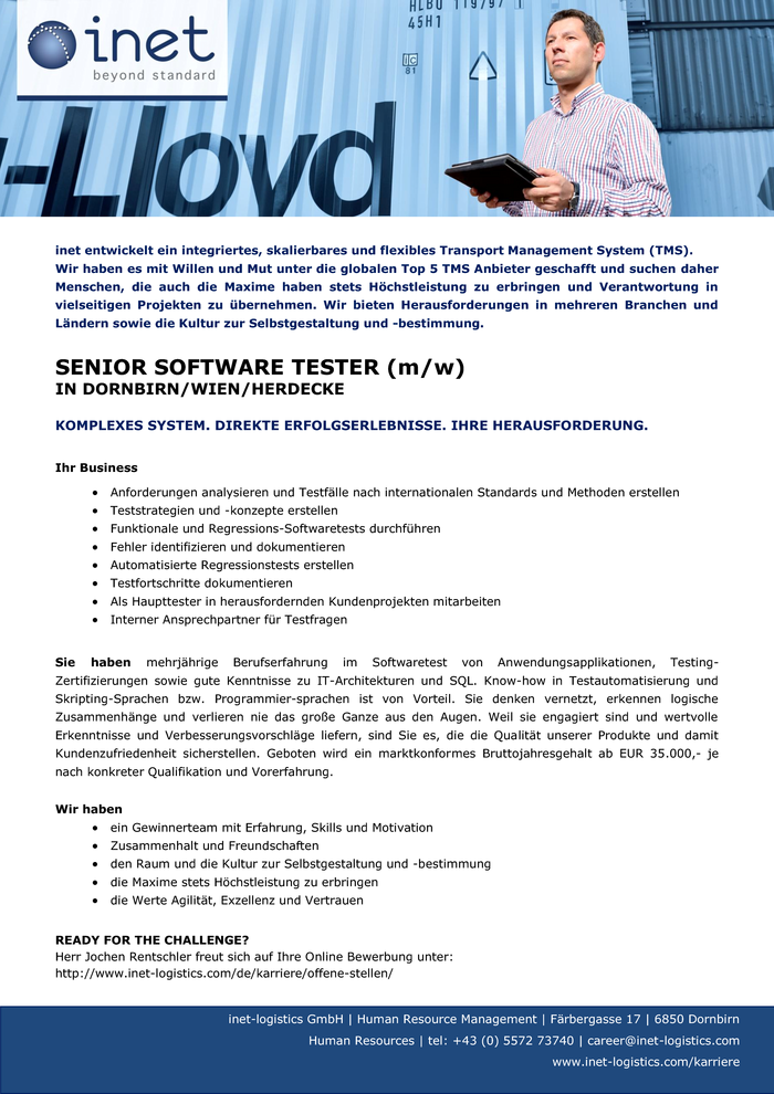 SENIOR SOFTWARE TESTER (m/w)