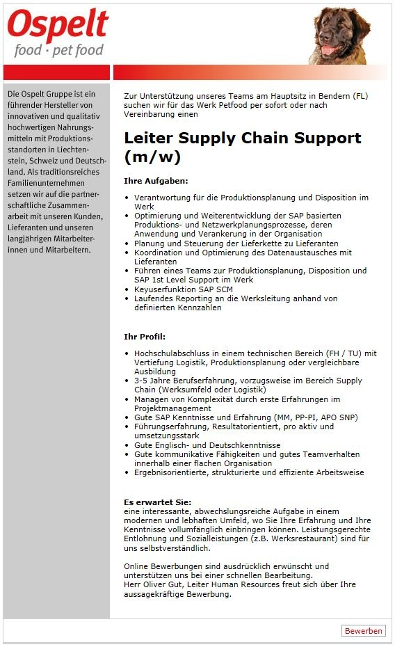 Leiter Supply Chain Support (m/w)