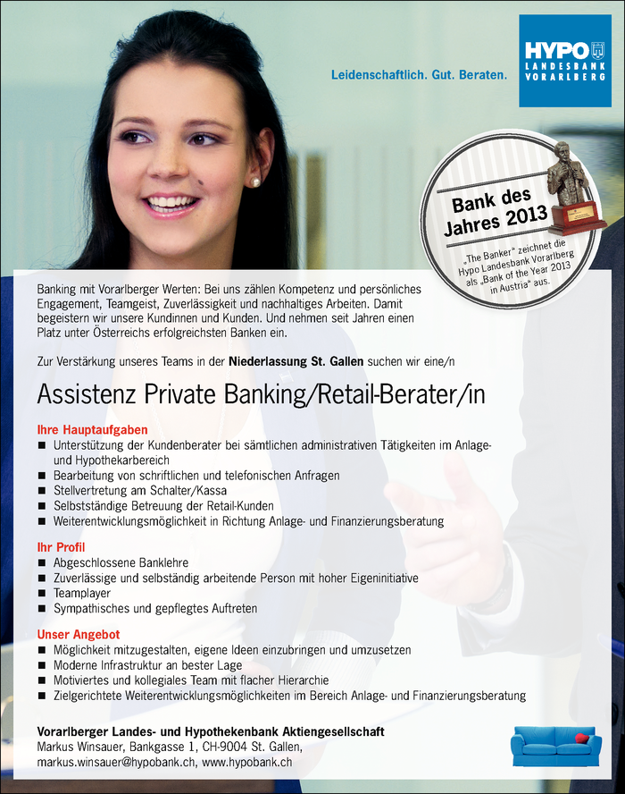 Assistenz Private Banking/Retail-Berater/in - Filiale St. Gallen