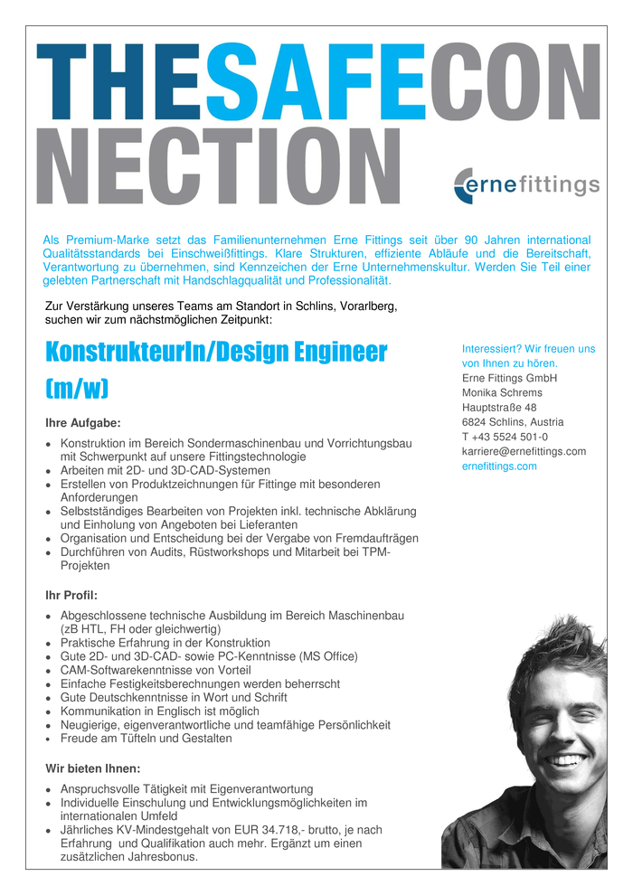 KonstrukteurIn/Design Engineer (m/w)