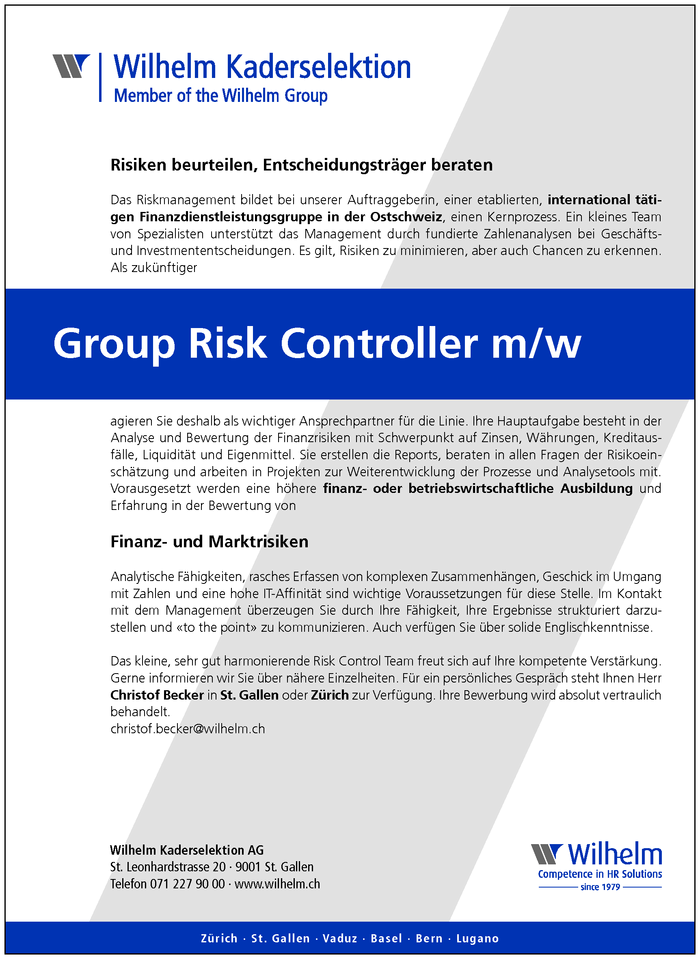 Group Risk Controller m/w