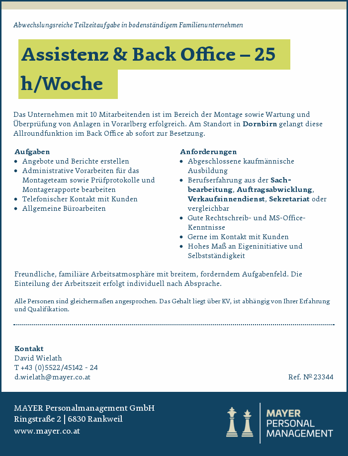 Assistenz & Back Office – 25 h/Woche