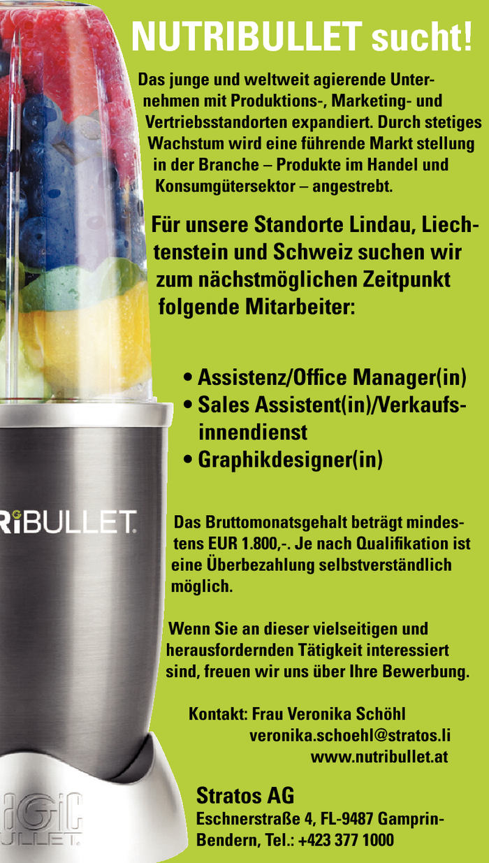 Assistenz/Office Manager/in, Sales Assistent/in, Graphikdesigner/in