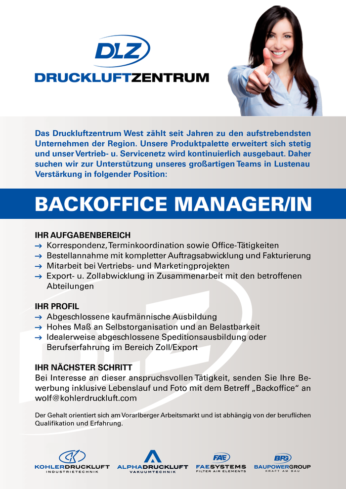 BACKOFFICE MANAGER/IN