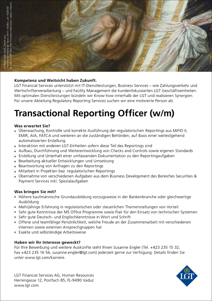 Transactional Reporting Officer (w/m)