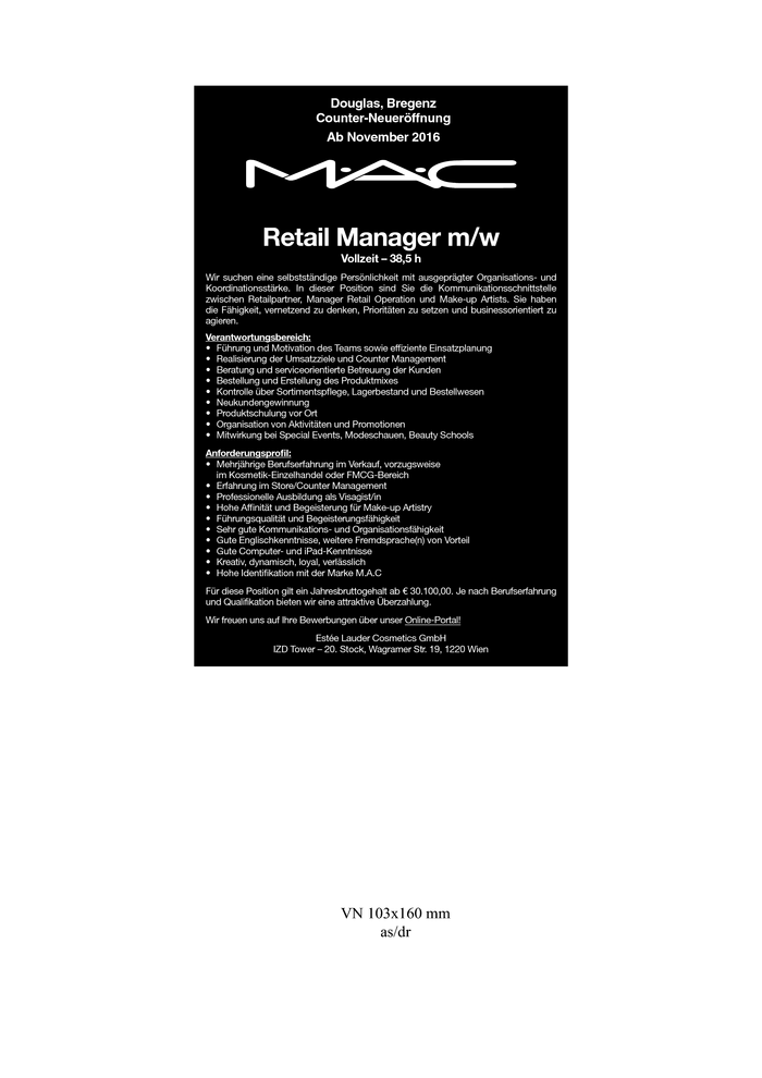 Retail Manager/in