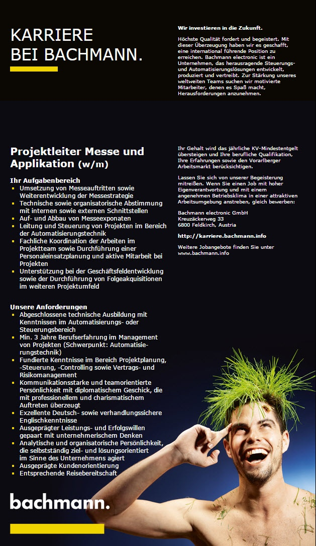 Projektleiter Messe und Applikation (w/m)