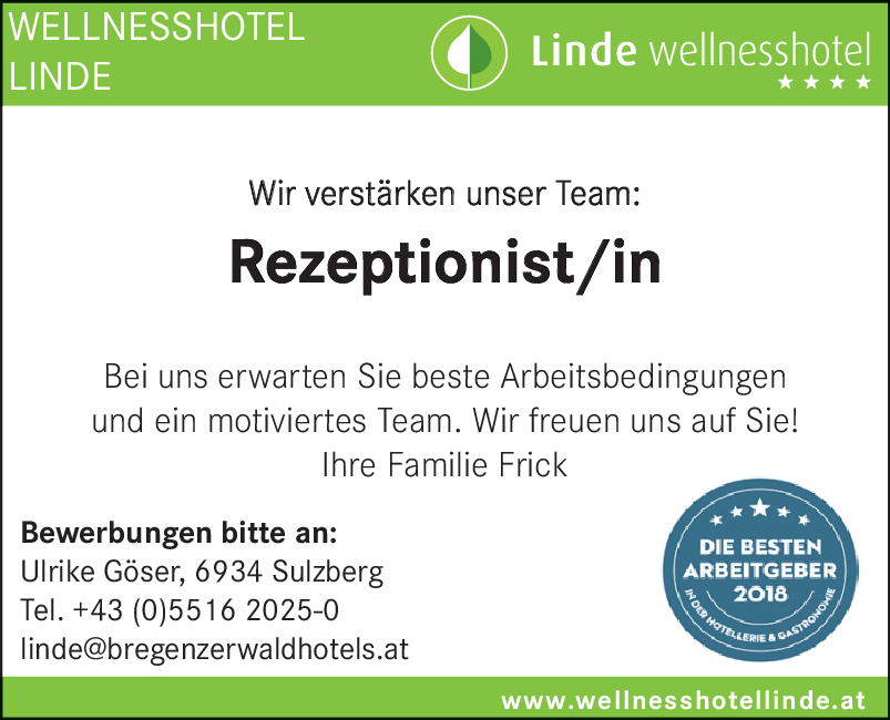 Rezeptionist/-in