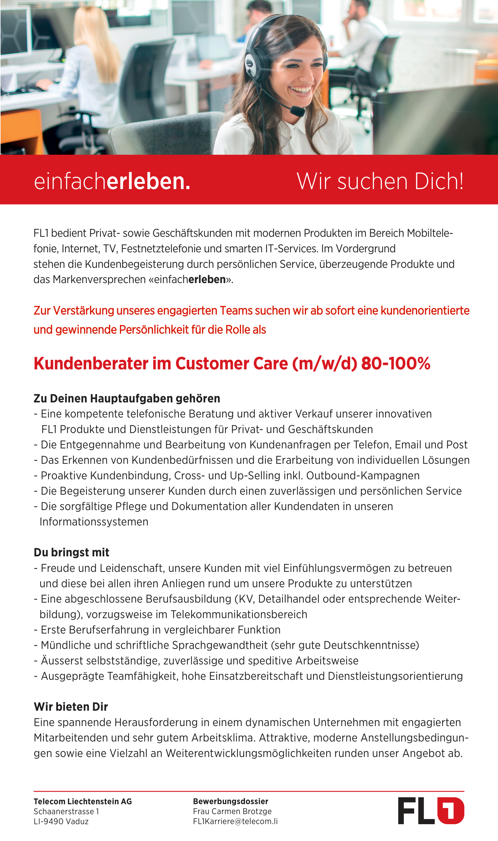 Kundenberater Customer Care (m/w/d) 80-100%