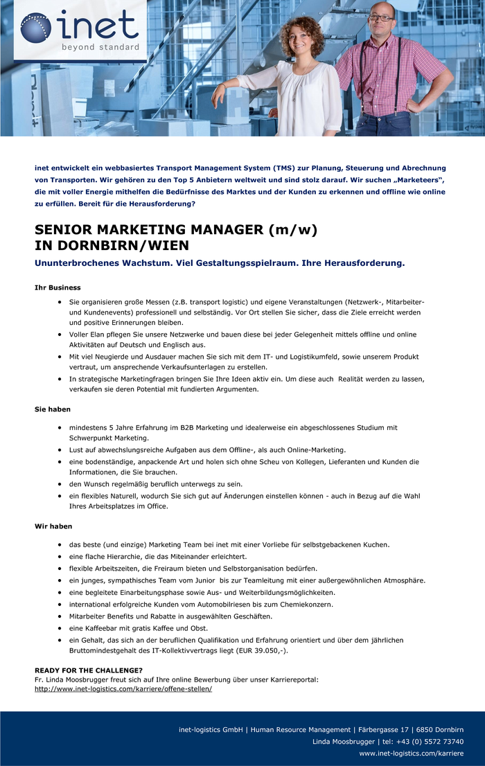 SENIOR MARKETING MANAGER (m/w) IN DORNBIRN/WIEN