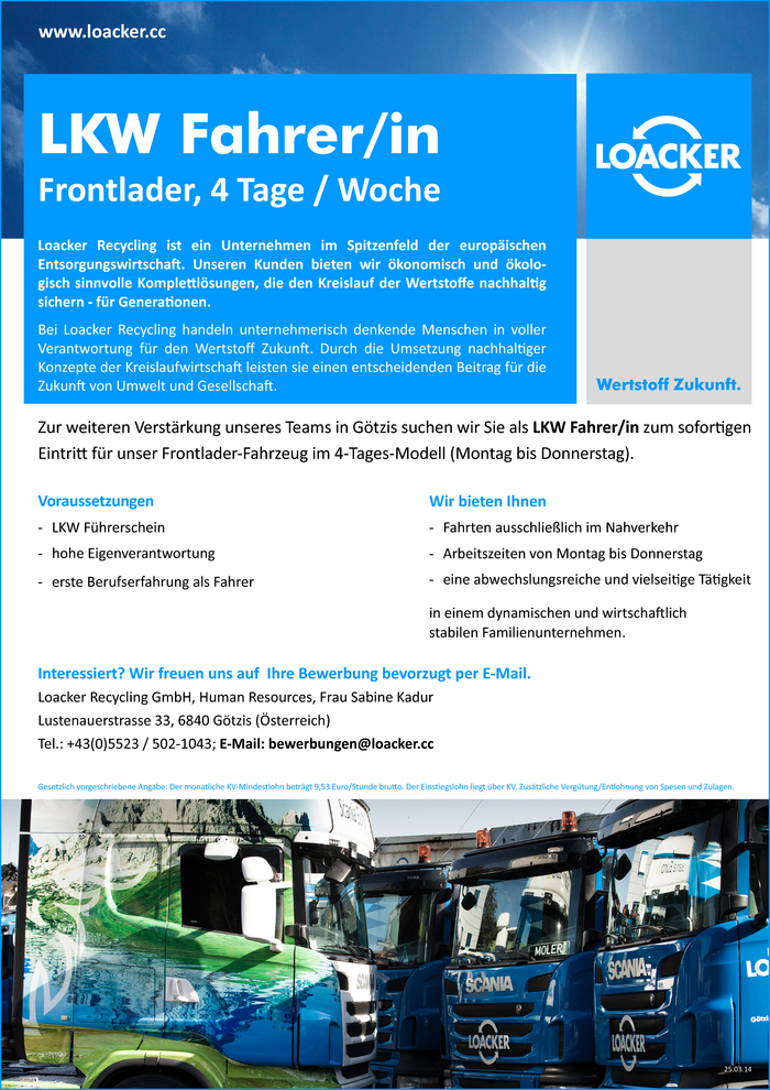 LKW Fahrer/in (Frontlader/ 4Tage-Woche)