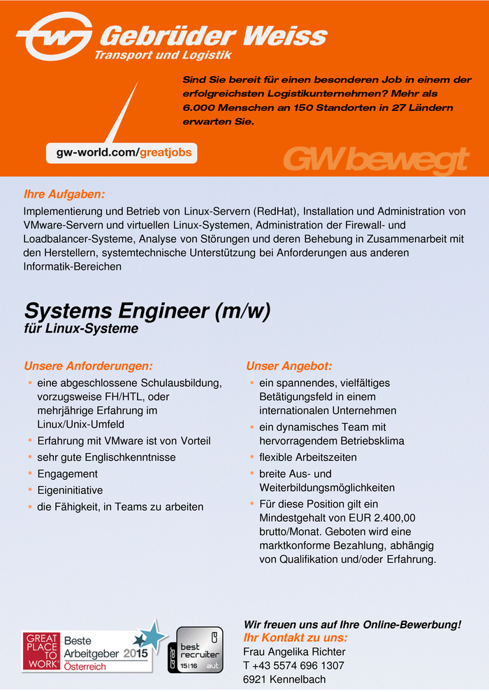 Systems Engineer (m/w)
