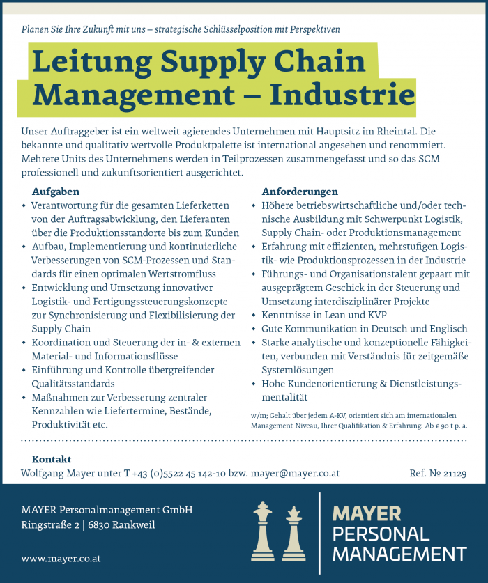 Leitung Supply Chain Management - Industrie