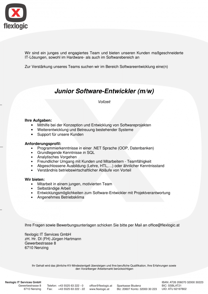 Junior SoftwareentwicklerIn / ProgrammiererIn