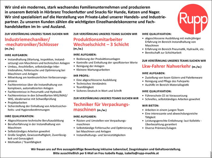 Industriemechaniker/in, Produktionsmitarbeiter/in, Techniker/in, Lkw-Fahrer/in