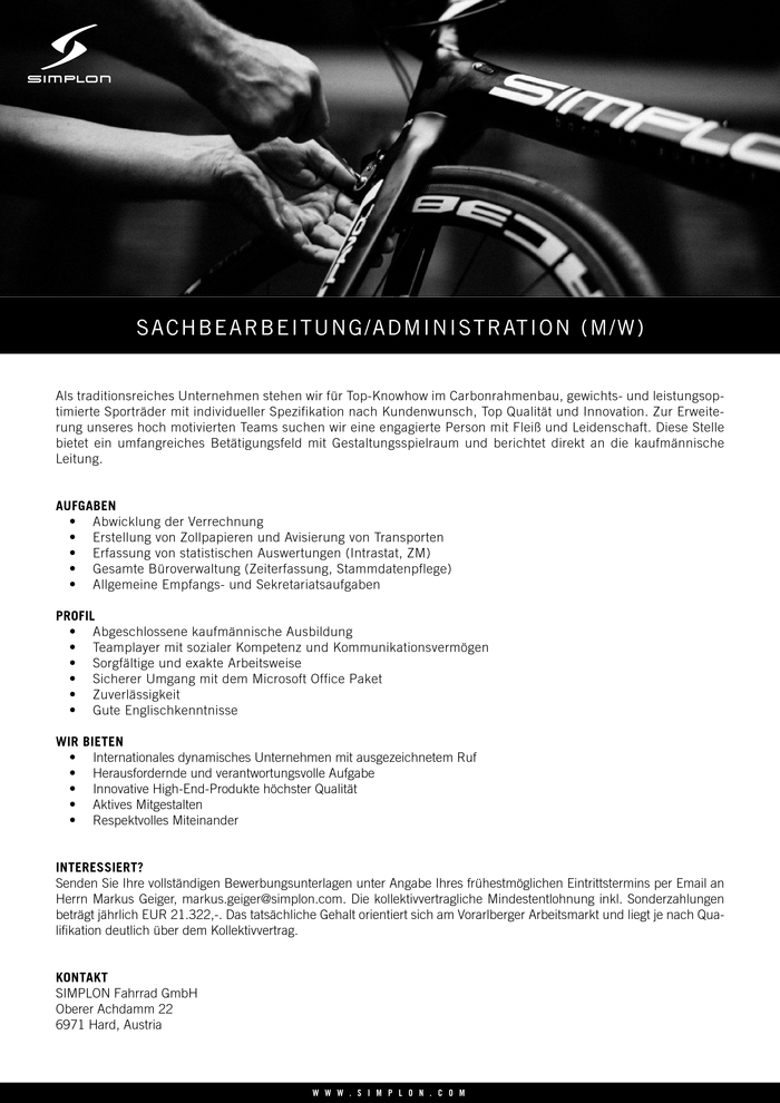 Sachbearbeitung Administration (m/w)