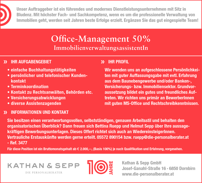 Office-Management 50% - ImmobilienverwaltungsassistentIn