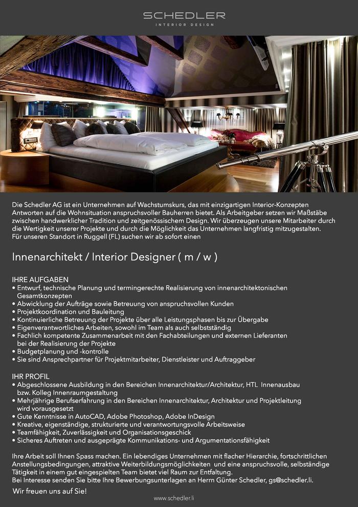 Innenarchitektur Liechtenstein innenarchitekt interior designer m w liechtenstein