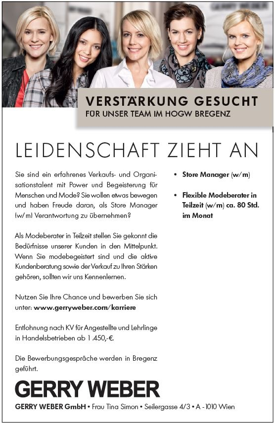 Store Manager (w/m), Flexible Modeberater in Teilzeit (w/m)