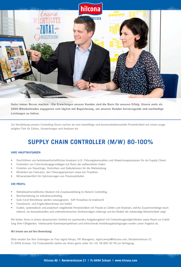 Supply Chain Controller (m/w) 80-100%