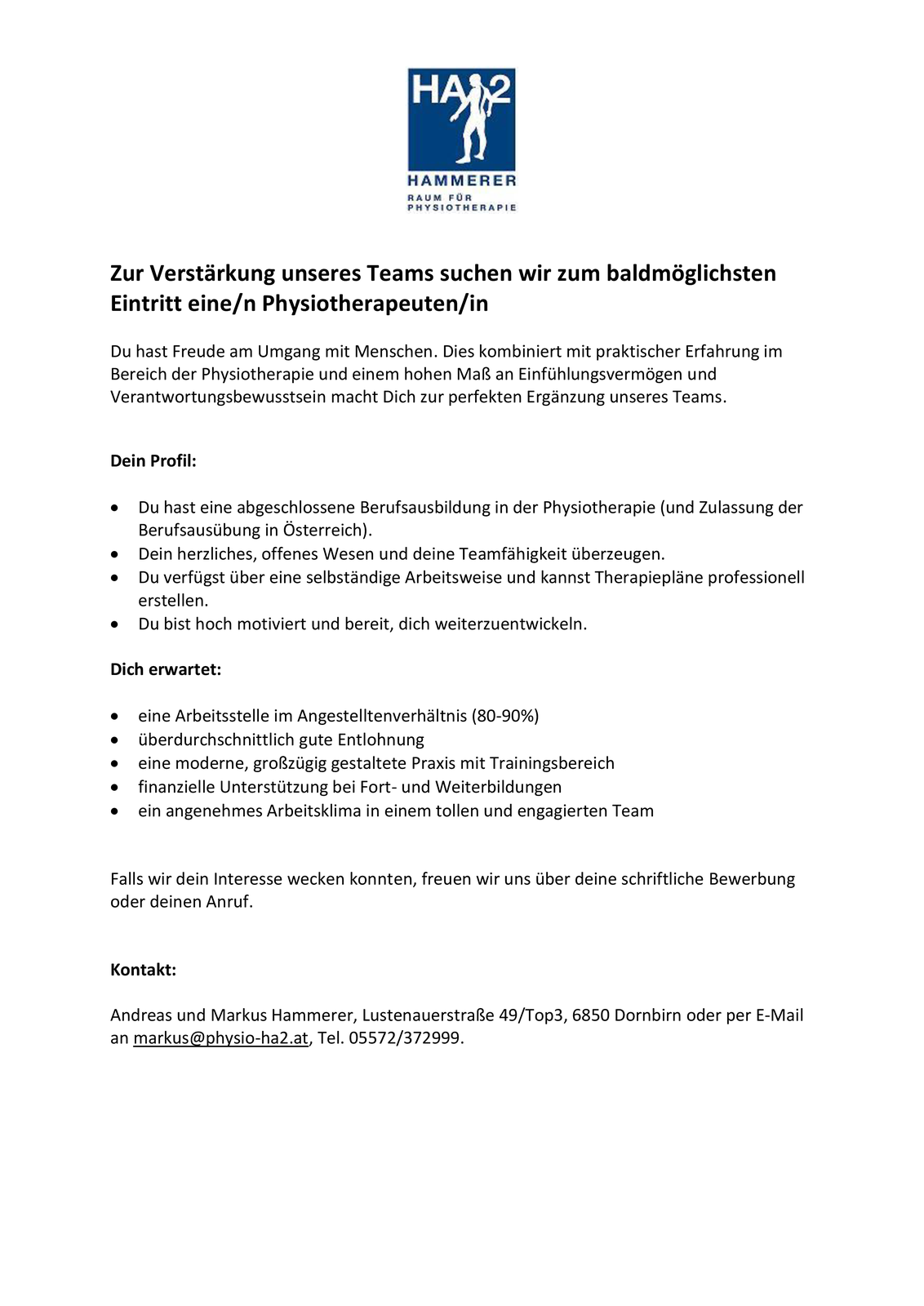 Physiotherapeut/in gesucht (80-90%)