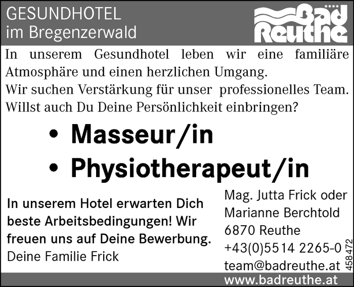 Rezeptionist/in, Physiotherapeut/in