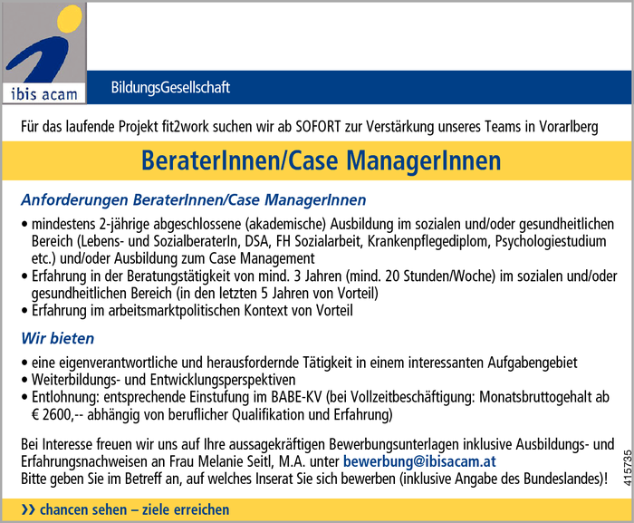 Berater/in/Case Manager/in