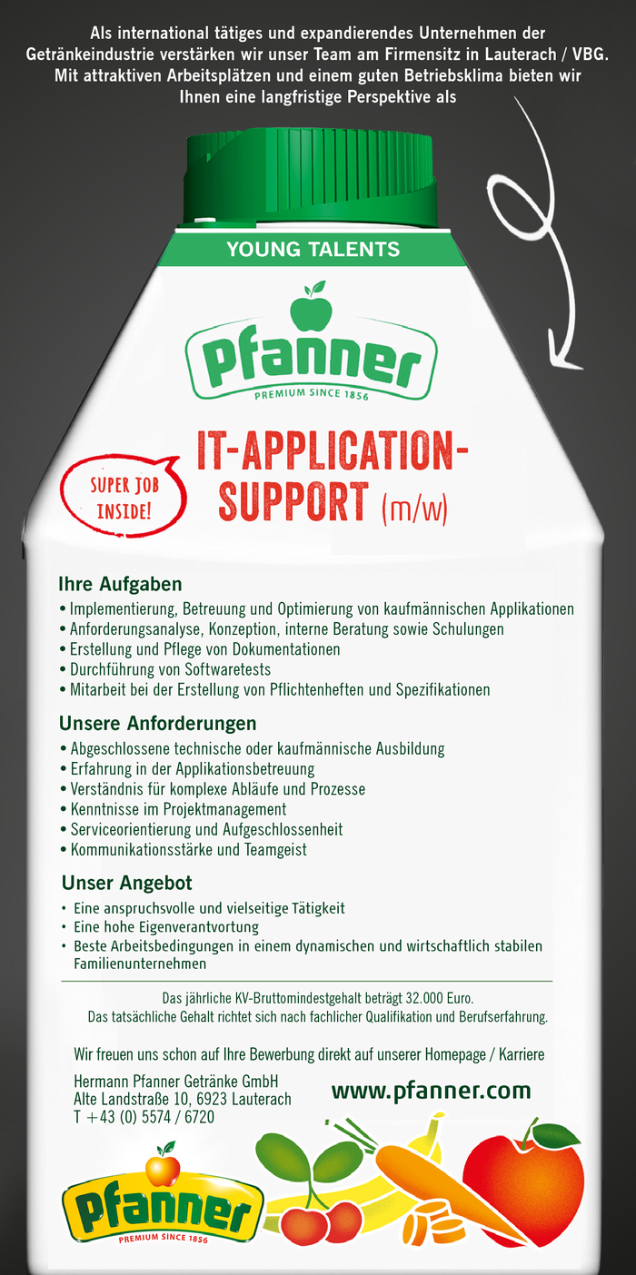 IT - APPLICATION SUPPORT (m/w) / IT - Anwendungsbetreuer