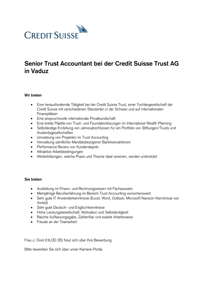 Head Trust Accounting bei der Credit Suisse Trust AG in Vaduz