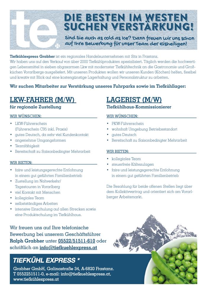 Lkw-Fahrer (M/W) Und Lagerist (M/W) - Feldkirch (Walgau) - Jobs In
