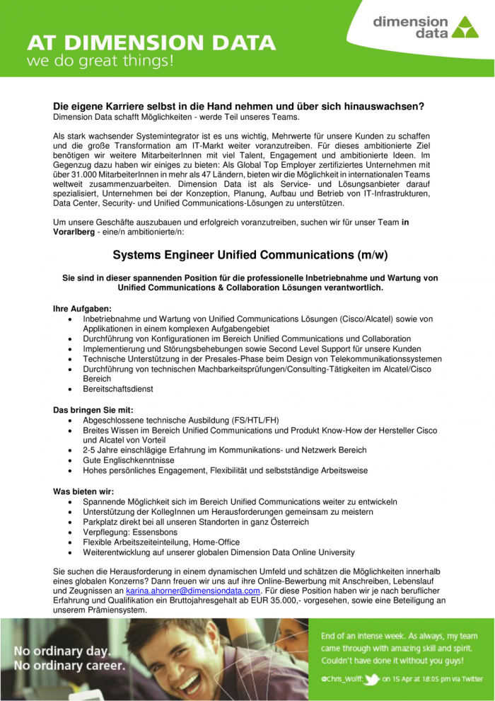 Systems Engineer Unified Communications (m/w)