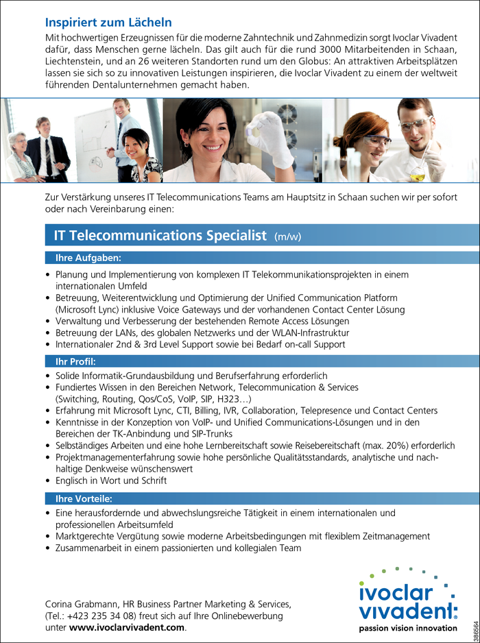 IT Telecommunications Specialist/in