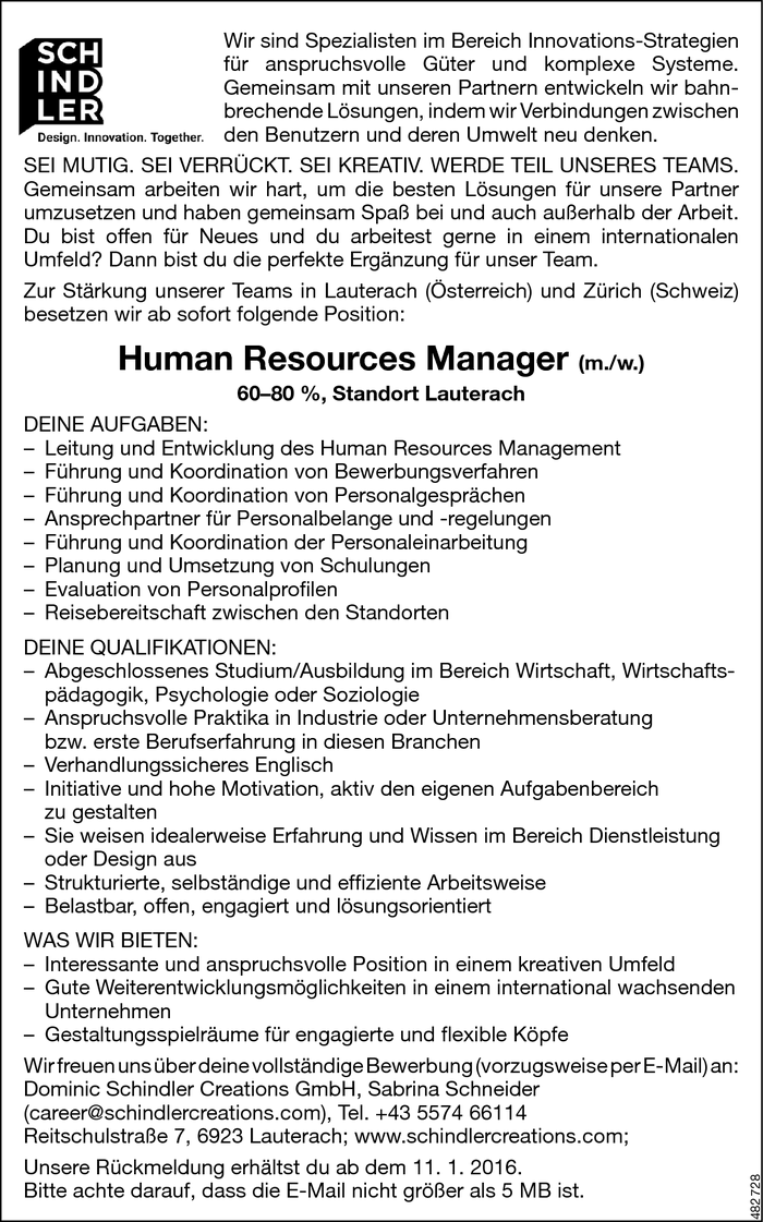 Human Resources Manager/in