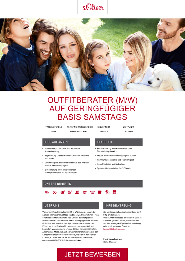 OUTFITBERATER (M/W) AUF GERINGFÜGIGER BASIS SAMSTAGS